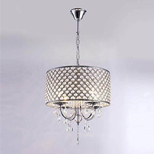 HDHUA Kristall LED Kronleuchter LED Kristallglas Lampen for Restaurant Korridor High Power Deckenbeleuchtung E14-4 Lichter Hauptbeleuchtung (Farbe : Chrome, Größe : AC 110V-Warmweiß) - Chrome Kronleuchter