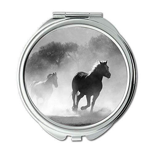 Yanteng Spiegel, Compact Mirror, Tiere schwarz-weiß Pferde, Taschenspiegel, Tragbare Spiegel