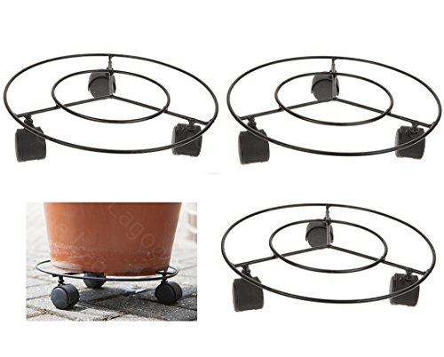 "3 x 11"" Plant Pot Round Wheels Mover/ Trolley Caddy Garden Plate Metal Stand- Heavy Duty and High Quality Plant Pot Dolly for Multi Purpose Use in Home/ Garden"
