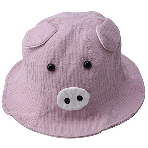Weiche Eimer Hut (ZNMUCgs Nettes Schwein Stickerei Hut Weiche Atmungsaktive Frühling Sommer Cartoon Tier Sonnenhut Strand Fischer Hut für Frauen Mädchen, Rosa)