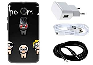 Spygen MOTOROLA Moto X2 Case Combo of Premium Quality Designer Printed 3D Lightweight Slim Matte Finish Hard Case Back Cover + Charger Adapter + High Speed Data Cable + Premium Quality Aux