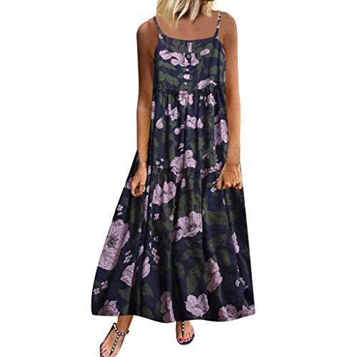 LUGOW Damen Bohemien Sommerkleider Blumen Maxi Kleid Ärmellos Abendkleid Strandkleid Party Lange Kleid Partykleid FreizeitTank Kleid Abendkleider Cocktailkleid(XXXXX-Large,Marine)