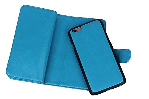 Für Apple iPhone 6Plus/6S Plus (14cm), urvoix (TM) Wallet Leder Flip Karte Fall, 2in 1abnehmbarer Magnetischer Rückseite Cover iPhone 6Plus/iphone6s Plus (nicht für iPhone 6) blau