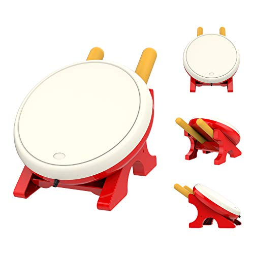 MoKo Drum Controller for Nintendo Switch, Drum Sticks Controller Set for Nintendo Switch Motion Sensing Game Taiko Drum Master Accessories for N- Switch Version - Red & White -