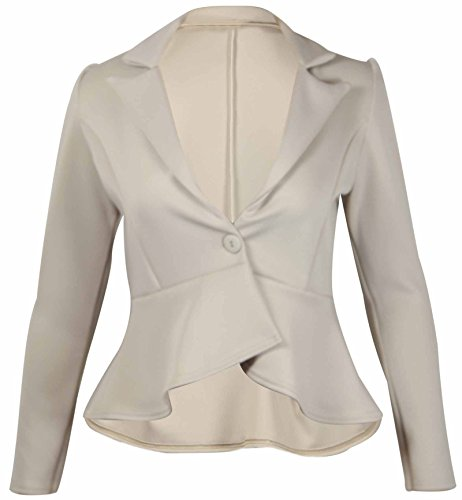 0cdee96a61774 Womens New Peplum Frill Fitted Jackets Ladies Long Sleeve Flared Slim Fit  Blazer Jacket Plus Size Stone Beige Size 20 - Buy Online in Oman.