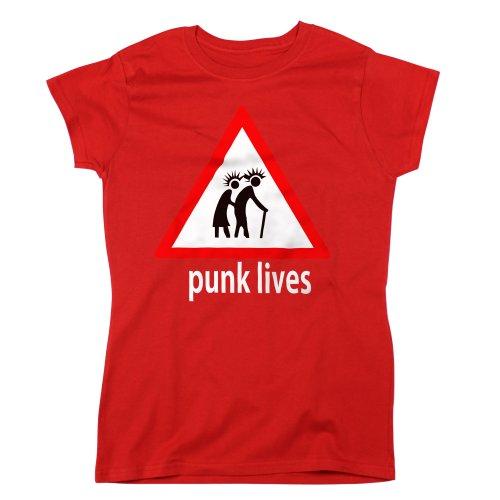 Nutees Punk Lives Rock Heavy Metal Music Damen T Shirt - Rot XX-Large (T-shirt Rock Punk Tee)