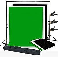 3x1.6m Kit de fond Support + Toile Tissu de fond non-tissé support de toile réglable télescopiques en alliage d'aluminium kit studio photo pour video tournage et télévision ( couleur noir blanc vert )