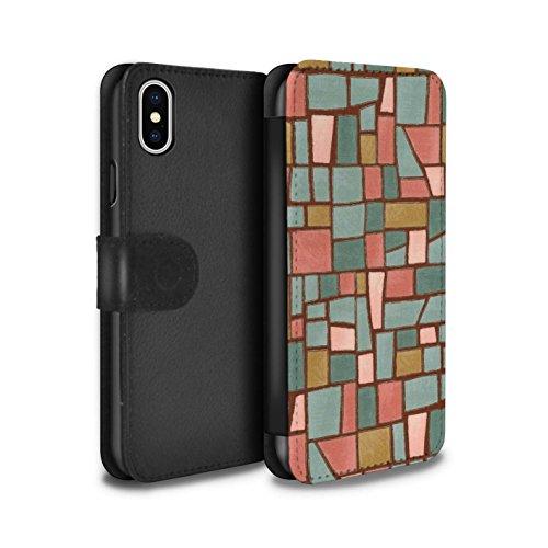 Stuff4 Coque/Etui/Housse Cuir PU Case/Cover pour Apple iPhone X/10 / Multipack (9 Pcs) Design / Carrelage Mosaïque Collection Rouge/Bleu