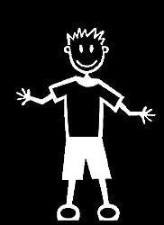 My Stick Figure Family Autoaufkleber Aufklerber Sticker Decal älterer Junge mit normaler Kleidung TM8