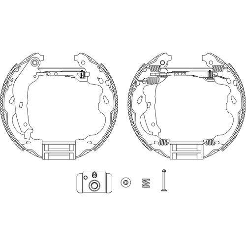 HELLA PAGID 8DB 355 004-991 Kit ganasce freno Shoe Kit Pro, Assale posteriore