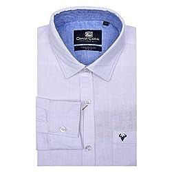 fc6ca68317d7c 84%off Daniel Estasi Mens Full Sleeve Slim Fit Chambray White Casual Shirt