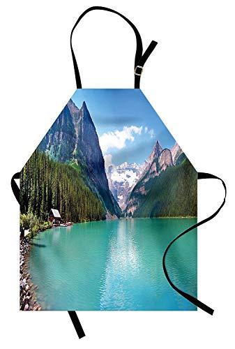 Soefipok Landschaft Schürze, Berg und Lake Louise Panorama Banff Nationalpark Alberta Kanada Bild, Unisex-Küche Latzschürze mit verstellbarem Hals zum Kochen Backen Gartenarbeit, ()
