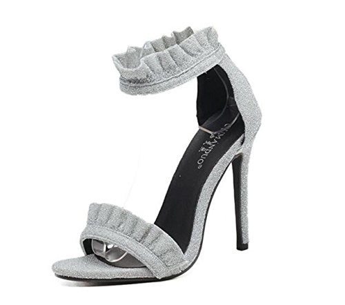PBXP Limitierte Edition Fashion Wave Pattern Knöchelriemen Charmante Hochzeit Peep Toe Sandalen Stiletto Ferse Casual Party Sandalen Silver