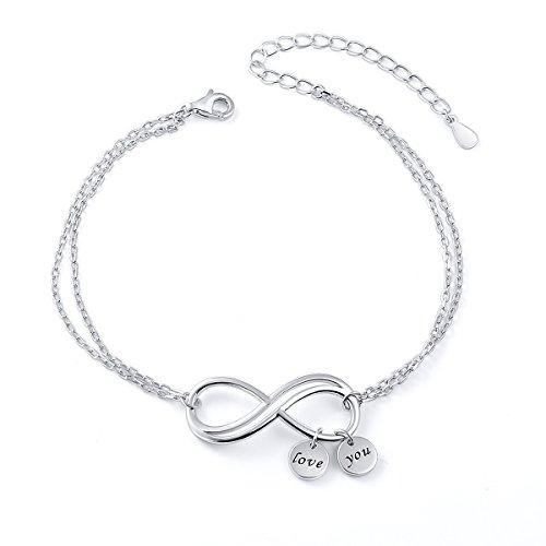 rmband Inspirational Bangle 925 Sterling Silber Infinity Armband Love Symbol Charm Double Chian einstellbar Armband für Frauen Mädchen Präfekt Muttertagsgeschenk für Sie ()