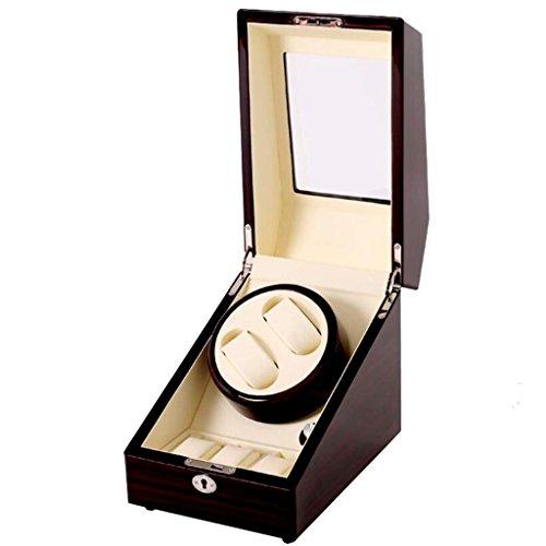 Uhr Winder ansehen/Schütteln Watch Box/Mechanische Uhrenbox/Automatikuhr Motorbox/4 Denken der Rotationsverfahren/Handgefertigte Produktion/Perfekt für 2 + 3 Standorte, white (Zeit Automatische Einstellen Der Uhr)
