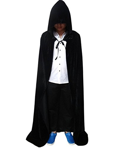 L-Peach Capa Negro Encapuchada Disfraz de Gótico Diablo Demonio Pirata Vampiro para Fiesta Halloween Navidad Hombre o Mujer