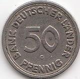 BRD (BR.Deutschland) Jägernr: 379 1949 F sehr schön Kupfer-Nickel 1949 50 Pfennig Bank Deutscher Länder (Münzen für Sammler)