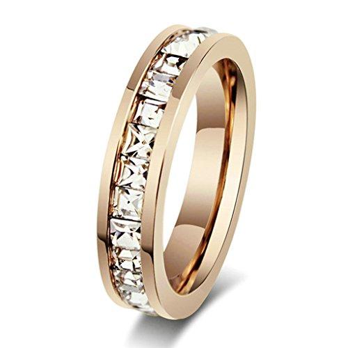 Daesar Edelstahl Ring Rose Gold Ewigkeit Ring Ehering Für Damen Größe:62 (19.7)