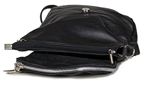 Kleine Damen Umhängetasche - Abendtasche Crossbody - Weiches Nappa Leder (20 x 17 x 7 cm L x H x B), Farben:Schwarz Schwarz
