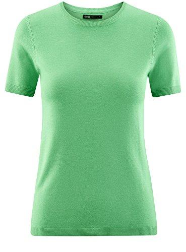 oodji Collection Damen Kurzarm-Pullover mit Rundem Ausschnitt Grün (6501N)