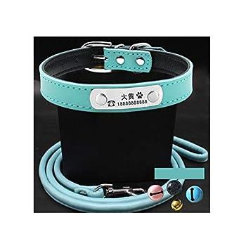 AMDXD Harnais de Chien avec Laisse Bleu-Colliers& Laisses PU Cuir Harnais Laisses Set pour Chien Colliers&Laisses L