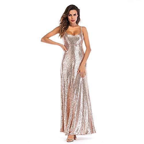 Frauen Pailletten Abendkleid Sexy Backless Glitter Maxi Kleid Bodycon Langes Kleid für Tanzparty Cocktail Hochzeit,Gold,M Sexy Gold-glitter