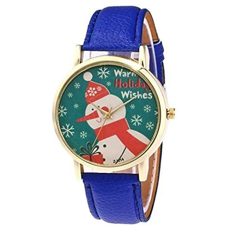 Fulltime Modèle de bonhomme de neige de Noël à la mode de bracelet en cuir de charme (Bleu)