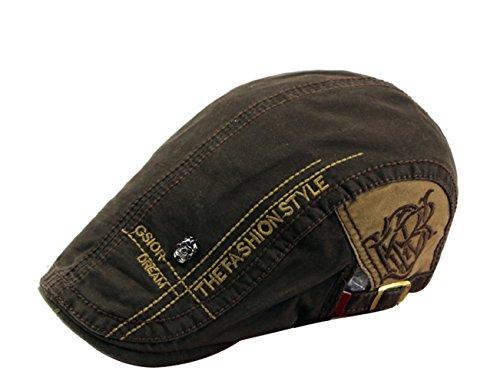 Herren Baumwolle Schirmmützen Lässige Mützen Gatsby Ivy Newsboy Flat Cap (Braun)