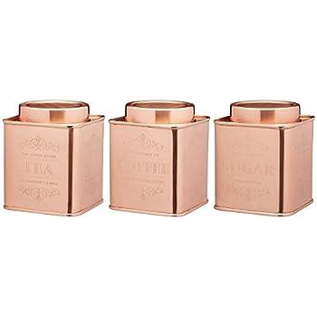 Set 3 Tea Coffee Sugar Canisters Kitchen Storage Tin Jars