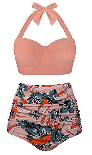 Angerella Damen Vintage Neckholder Badeanzüge Hoher Taille Gerüscht Bikini,4X-Large