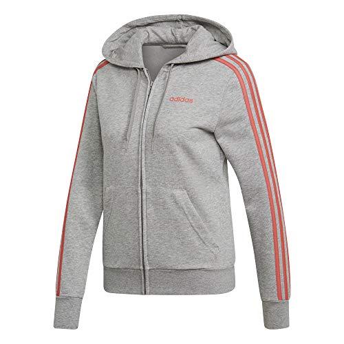 adidas Essentials 3-Streifen Full Zip Hoodie Hooded Track Top, Damen, Mehrfarbig (Medium Grey Heather/Prism Pink), M Zip-hoodie-top