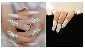 VIKSON INTERNATIONAL 12 Pcs White Diamond SEXY Bridal Extra long pointed oval fake nails crystal diamond white nail with 10 gm nail glue