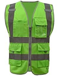 099b42aff6c Chaleco de construcción con tiras reflectantes 3M, 4 bolsillos de  seguridad, multifunción, ropa