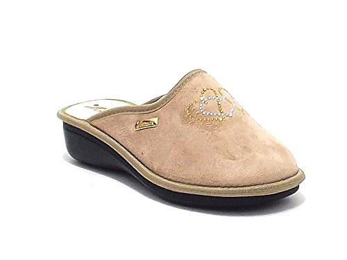 Scarpa donna, 6014, pantofola donna Susimoda in velluto e strass, colore beige