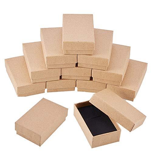 Benecreat 24 pack scatole di cartone kraft per collana 8x5x3cm scatola regalo piccola rettangolare bracciale e orecchini perfetto per compleanni matrimonio festival
