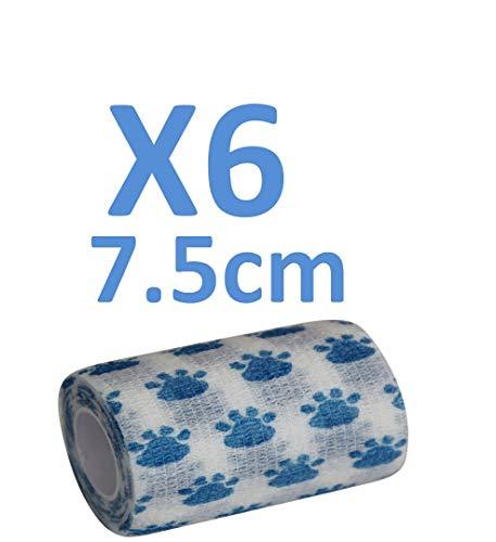 PintoMed Venda Cohesiva - 6 Dibujo DE Patas - 6 Rollos x 7.5 cm x 4,5 m Autoadhesivo Flexible Vendaje, Calidad Profesional, Primeros Auxilios, Lesiones de los Deportes