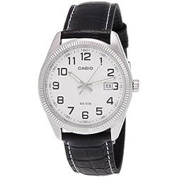 Casio-MTP - 1302L 7B-Classic-Men's Watch Analogue Quartz White Dial Black Leather Strap