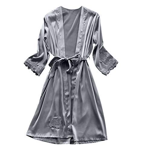 TianWlio Dessous Mode Damen Pyjamas Unterwäsche Unterhosen Unterröcke Negligees Weihnachten Dessous Seiden Spitze Kleid Baby Dolls Nachthemd Nachtwäsche Kimono Grau XL