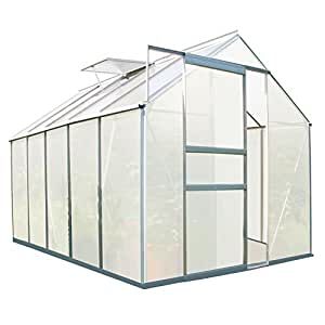 Zelsius - 5,9 m² Aluminium Gewächshaus, Garten Treibhaus, 310 cm x 190 cm, 6 mm Hohlkammerstegplatten