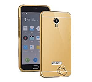 Droit Luxury Metal Bumper + Acrylic Mirror Back Cover Case For meizummeizum2 Gold + Flexible Portable Thumb OK Stand by Droit Store.