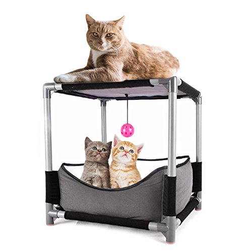 Comaie® Tragbare Katze atmungsaktiv, Indoor, Outdoor, Welpen Kratzbaum Activity Bettgestell mit Tafel, Haustierbedarf Multifunktionale mit abnehmbarem Spielzeug