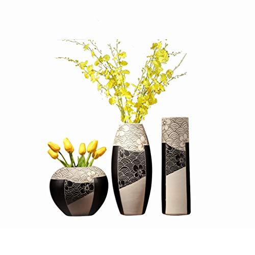 Vases LXF en céramique Trois pièces Table à Manger Riche Bambou insérer créatif Maison Moderne Salon décoration décoration (Seulement Vendre (Color : B)