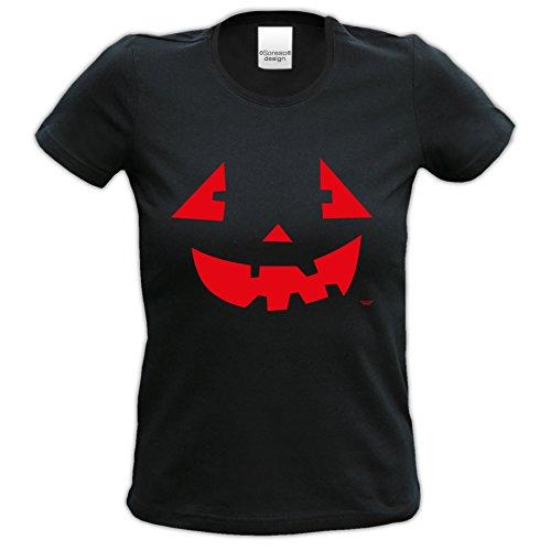 Fun-T-Shirt Frauen Damen Aufdruck Pumpkinface zur Halloween-Party, Feier Geschenk-idee kurzarm Farbe: schwarz Schwarz
