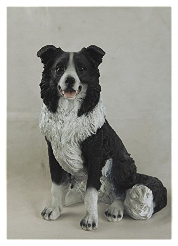 sitzende Hunde-Figur Border Collie lebensgroß (Collie Hund Figur)