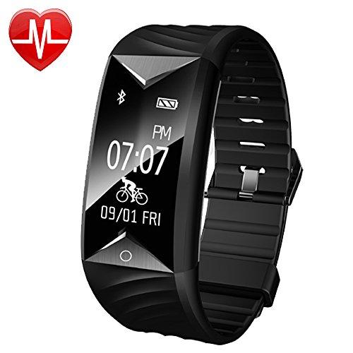 YAMAY Fitness Armband mit Pulsmesser,Fitness Tracker mit Herzfrequenz Wasserdicht IP67 Aktivitätstracker Pulsuhren Smartwatch Schrittzähler Armbanduhr mit Schlafmonitor Kalorienzähler Vibrationsalarm Anruf SMS Whatsapp Beachten kompatibel mit iPhone Android Handy(Schwarz)