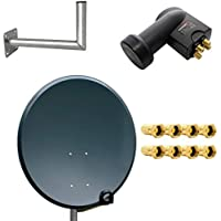 PremiumX digital SAT Anlage 80 cm Stahl Schüssel Spiegel Antenne Anthrazit + Quad LNB PXQS-SE 0,1dB für 4 Teilnehmer + Wandhalter 45cm ALU TÜV Geprüft + 8 F-Stecker vergoldet