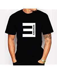 JJZHY American Rapper Eminem Fashion Camiseta Estampada Negro de Manga  Corta Unisex aaacf9d6ce6