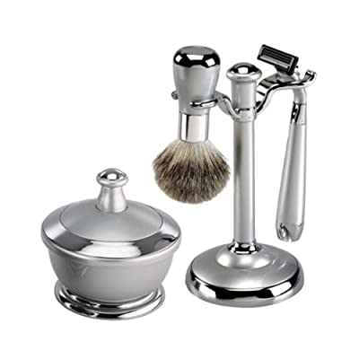 Silver Metal Finish Shaving Set With Mirror Shaving Bowl