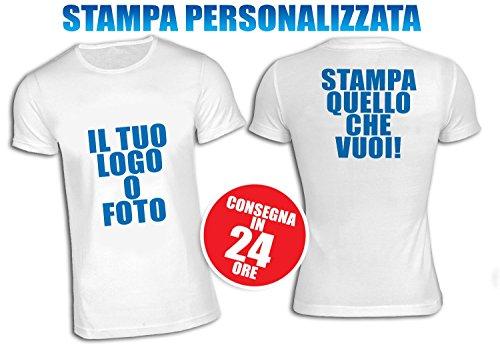 T-shirt maglietta personalizzata unisex 100% poliestere stampa fronte e retro manica corta bianca taglia l
