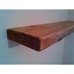 Estantería flotante de madera rústica y robusta con un estilo regenerado de 100cm.